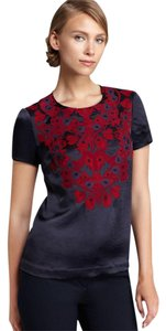 Tory Burch Embroidered Beaded Satin Short-sleeve Scoop Neck Top Blue, Red