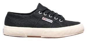 Superga Sneakers Sportswear Lace Up Stitched Canvas Black Athletic