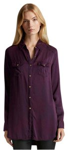True Religion Silk Button Down Longsleeve Boysenberry New Tunic