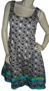 Nine West short dress Black, white, teal, blue & green Accent Hemline Geometric Print Party Church on Tradesy
