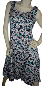 Talbots short dress white, black, teal, blue and red floral Cotton Spring on Tradesy