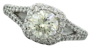 Other Ladies Modern Estate Halo Round Diamond Platinum Engagement Ring
