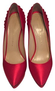 Charlotte Olympia Satin Stiletto Red Pumps