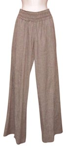 BCBGMAXAZRIA Smocked Linen Extra Wide Elastic Spring Wide Leg Pants Brown