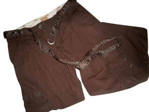 Abercrombie & Fitch Exclusive Belt Satin Cargo Pants Chocolate Brown
