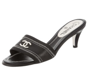 Chanel Interlocking Cc Logo Embroidered Peep Toe Cc Black, White Sandals