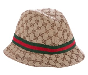 Gucci Beige, brown GG monogram canvas Gucci bucket hat L