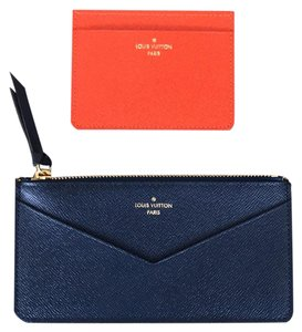 Louis Vuitton Jeanne Inserts Leather Orange Credit Card Holder & Blue Zippy Pochette