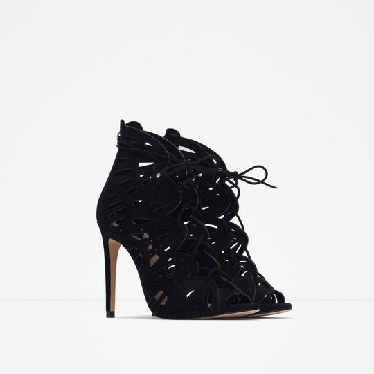 Zara Lace Leather Strappy Heels Black Sandals Image 3
