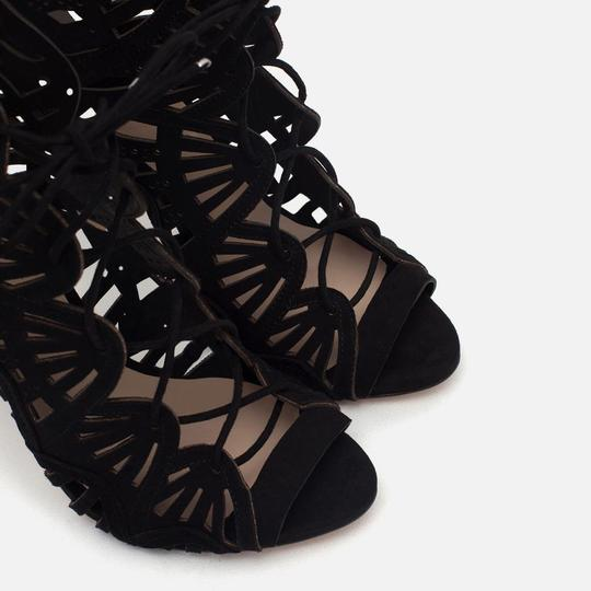 Zara Lace Leather Strappy Heels Black Sandals Image 5