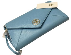 Tory Burch Wallet Envelope Leather Morning Sky Blue Clutch