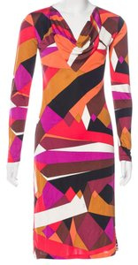 Emilio Pucci Longsleeve Monogram Print Silk V-neck Dress