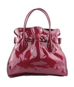 Valentino Patent Leather Tote in Burgundy