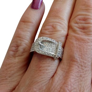 Other 18K White Gold Maco Pave Buckle Ring