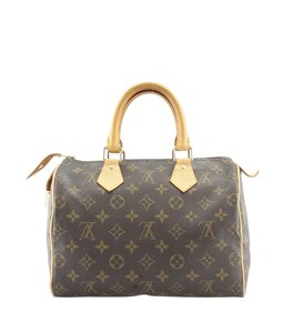 Louis Vuitton Monogram Coated Canvas Lv Satchel in Brown