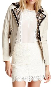 DOMA Leather Moto Bomber Blazer Embellished Chic Zip Up Classic Motorcycle Jacket