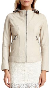 DOMA Leather Beaded Moto Bomber Blazer Embellished Chic Zip Up Classic Motorcycle Jacket