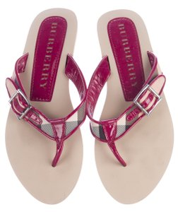 Burberry Nova Check Plaid Patent Leather Silver Hardware Print Black, Beige, Red Sandals