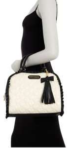 Betsey Johnson Dome Quilted Hearts Tassels Satchel in Cream/Black