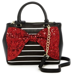 Betsey Johnson Sequin Satchel in Red Black White
