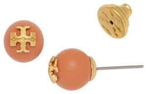 Tory Burch Tory Burch Evie Coral Pearl Studs 16k Gold T Logo Earrings