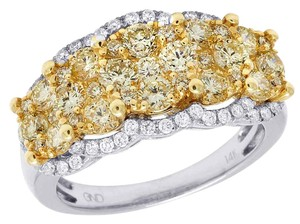 Jewelry Unlimited Ladies 14K White Gold Real Canary Diamond Cluster Engagement Ring 2CT