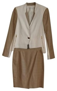 Calvin Klein CK white/tan skirt suit, jacket size 6, skirt size 2