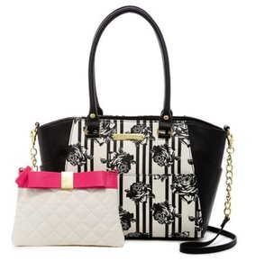 Betsey Johnson Bow Satchel in Black/White Floral and Fushia