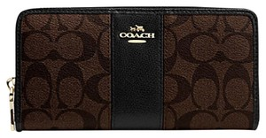 Coach F54630 COACH SIGNATURE CANVAS WITH LEATHER ACCORDION ZIP WALLET