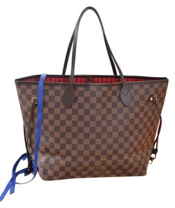 Louis Vuitton Lv Neverfull Mm Neverfull Gm Tote in Damier Ebene with cherry lining