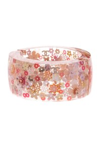 Chanel Chanel Lucite & Pink Camellia Hinged Cuff Bracelet