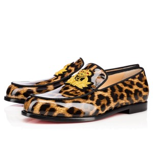 Christian Louboutin Laperouza Patent Leather Loafers leopard, white Flats
