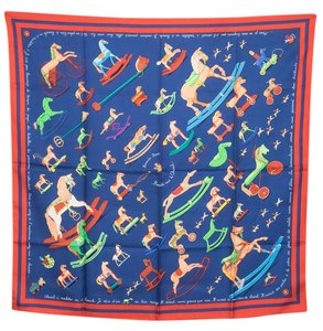Hermès Hermes navy blue and red 'Raconte- Moi Le Cheval' motif silk scarf