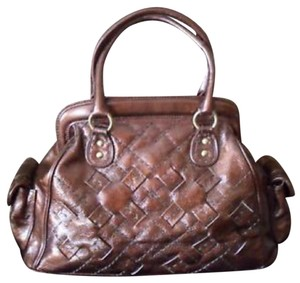 Isabella Fiore Celine Patent Leather Satchel in Bronze