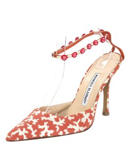 Manolo Blahnik Ankle Strap Pointed Toe Coral, grey and beige Pumps