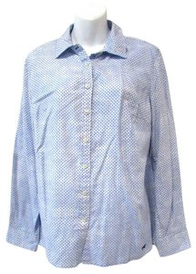Talbots Stars Blouse Casual Button Down Shirt Light Blue