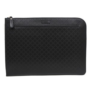 Gucci Gucci Diamante Leather Zip Portfolio Briefcase Bag 368564 1000 Black