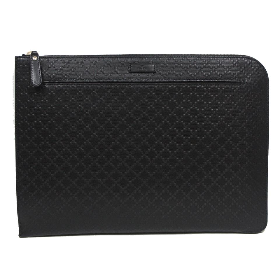 81b6c7129 Gucci Black Portfolio Diamante Leather Zip Briefcase Bag 368564 Tech  Accessory