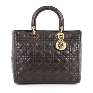 Dior Christian Leather Satchel in Brown