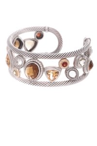 David Yurman David Yurman Sterling Silver 18K Gold Citrine & Diamond Mosaic Cuff