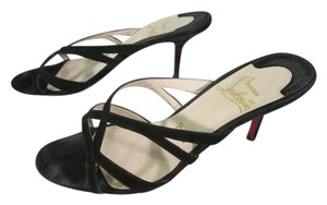 Christian Louboutin Strappy Suede Black Sandals