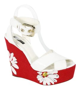 Dolce&Gabbana White and Red Wedges