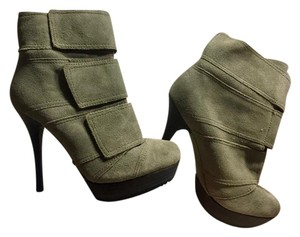 Luxury Rebel By Jean-Michel Cazabat Suede Velcro Modern Futuristic Olive Gray Boots