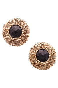 Chanel Chanel Vintage Gold-Tone & Black Medallion Clip-On Earrings