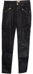 Arden B. Jeans Zippers Faux Leather Skinny Pants Black