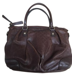 Gucci Vintage Embossed Leather Satchel in chocolate brown