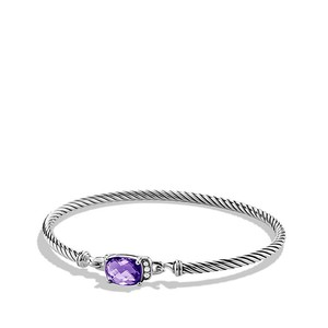 David Yurman Petite Wheaton Bracelet with Amethyst and Diamonds (Medium)