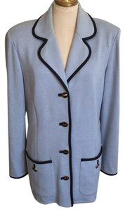 St. John light blue with black trim Blazer