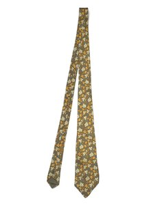Hermès Hermes Olive Autumn Leaves Printed Silk Tie