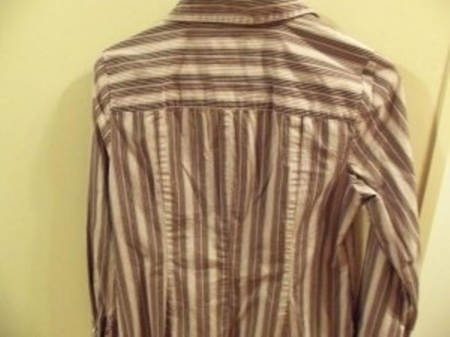 Ann Taylor LOFT Button Down Shirt White, Black, And Toupe Pin Stripe